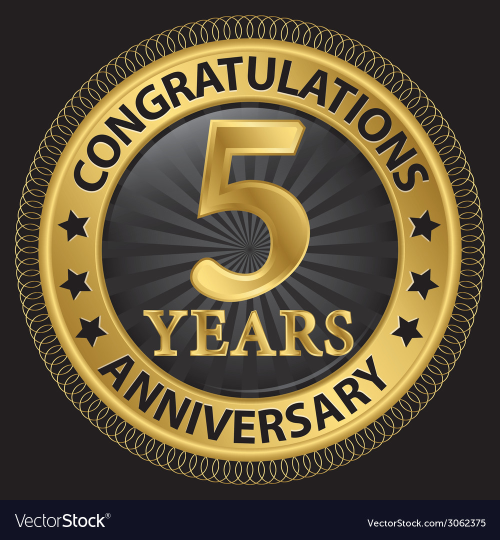 5 years anniversary congratulations gold label vector | Price: 1 Credit (USD $1)