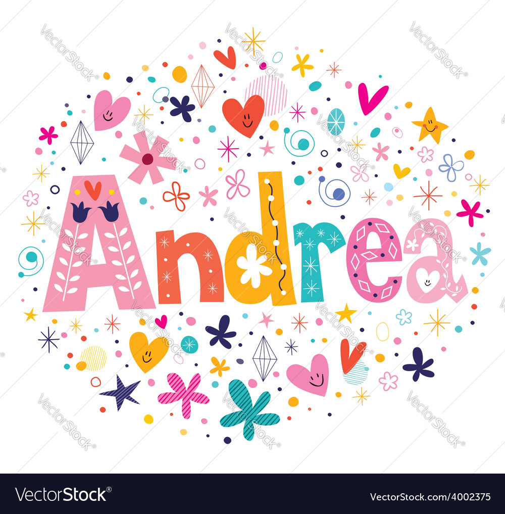 Andrea female name decorative lettering type vector | Price: 1 Credit (USD $1)