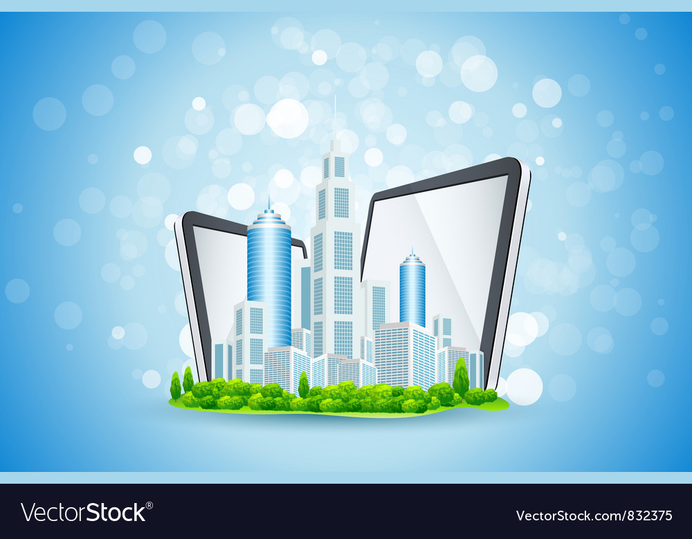 Blue background with business city and tablet comp vector | Price: 3 Credit (USD $3)