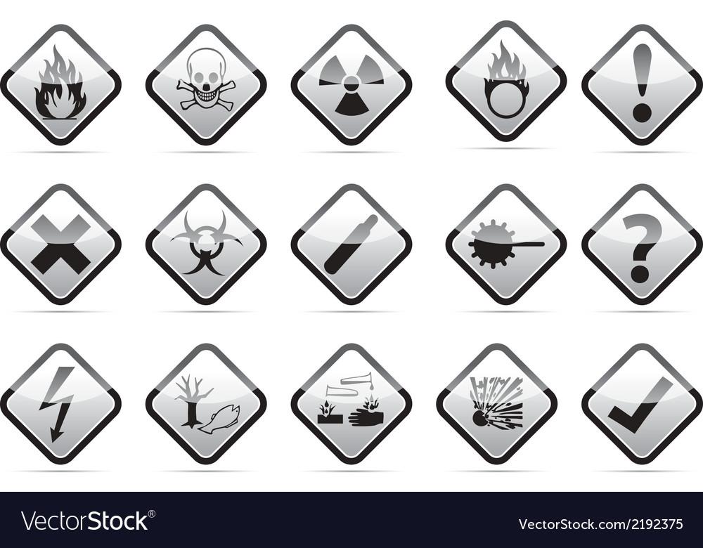 Danger round corner warning sign set vector | Price: 1 Credit (USD $1)