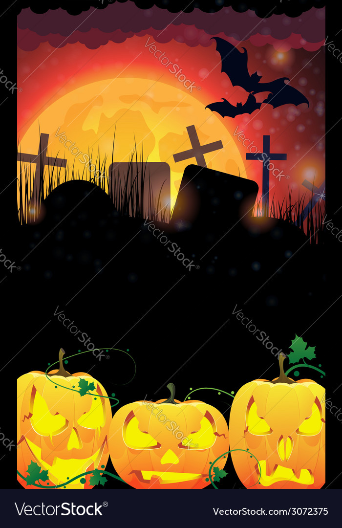 Evil jack o lanterns on a moon background vector | Price: 3 Credit (USD $3)