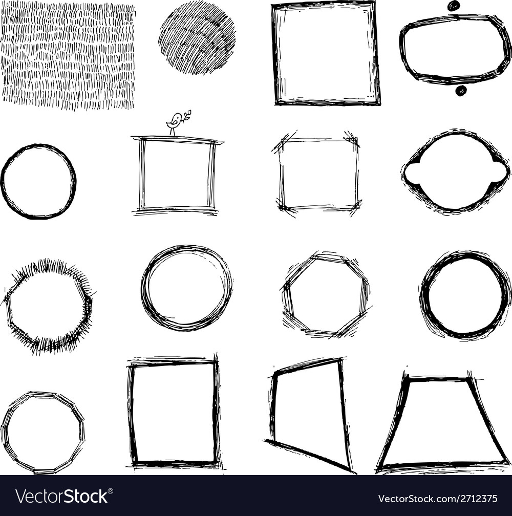 Geometric shapes freehand hatching vector | Price: 1 Credit (USD $1)