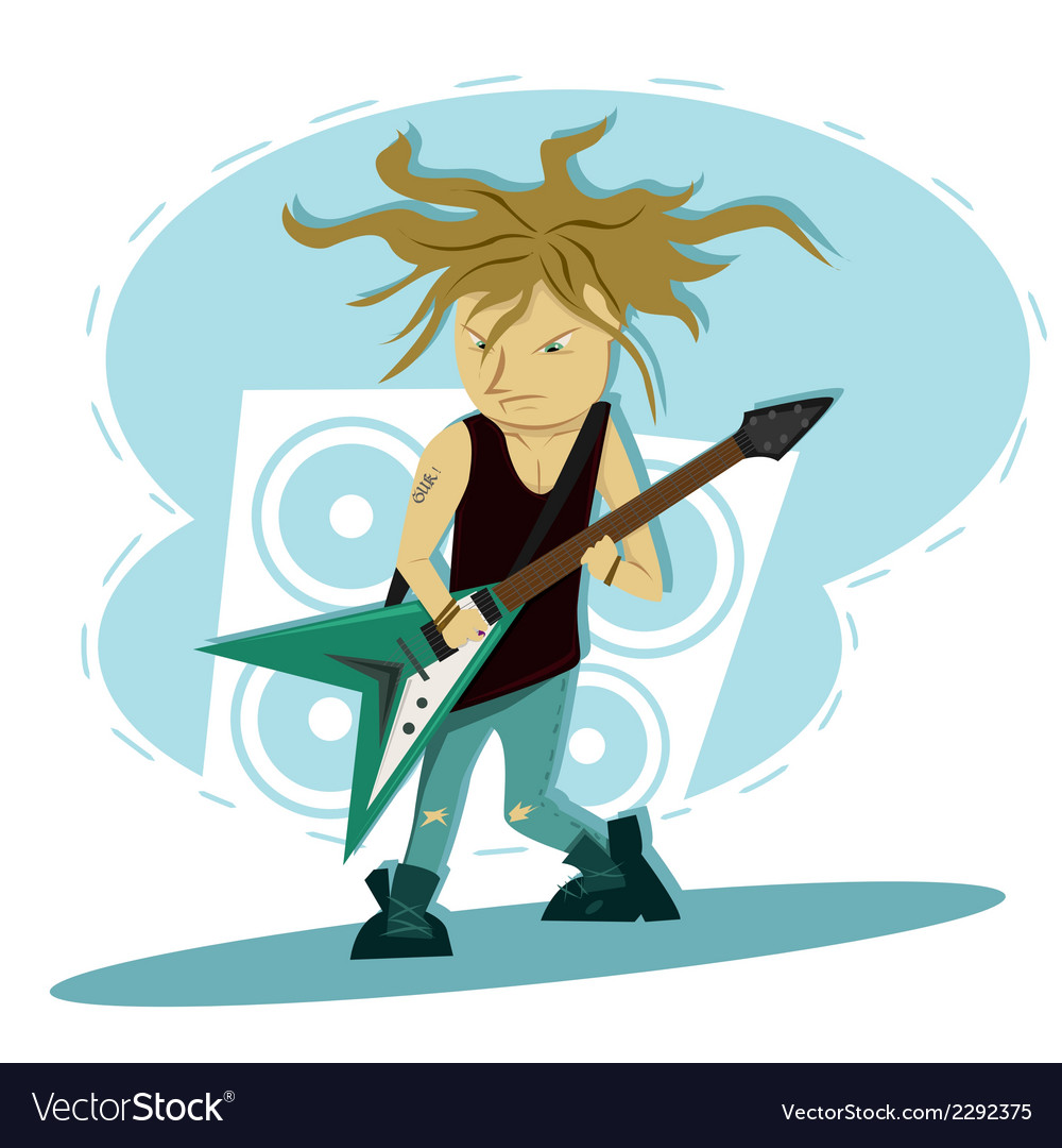 Hardcore guitar long hair player vector | Price: 1 Credit (USD $1)