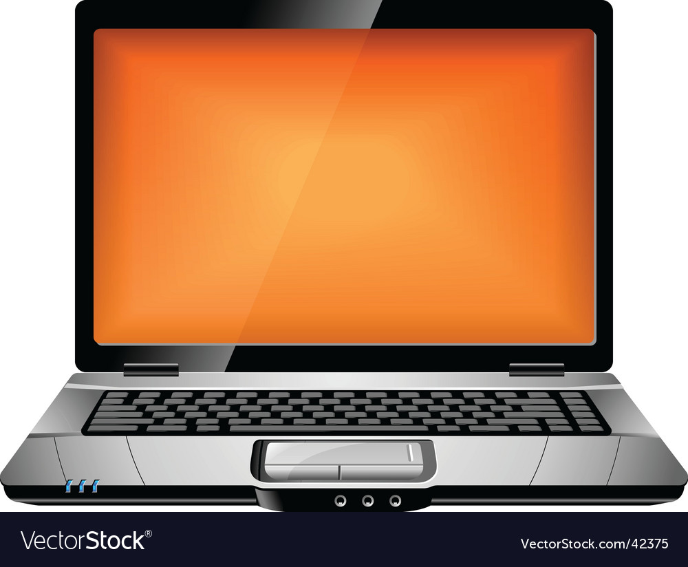 Orange laptop vector | Price: 1 Credit (USD $1)