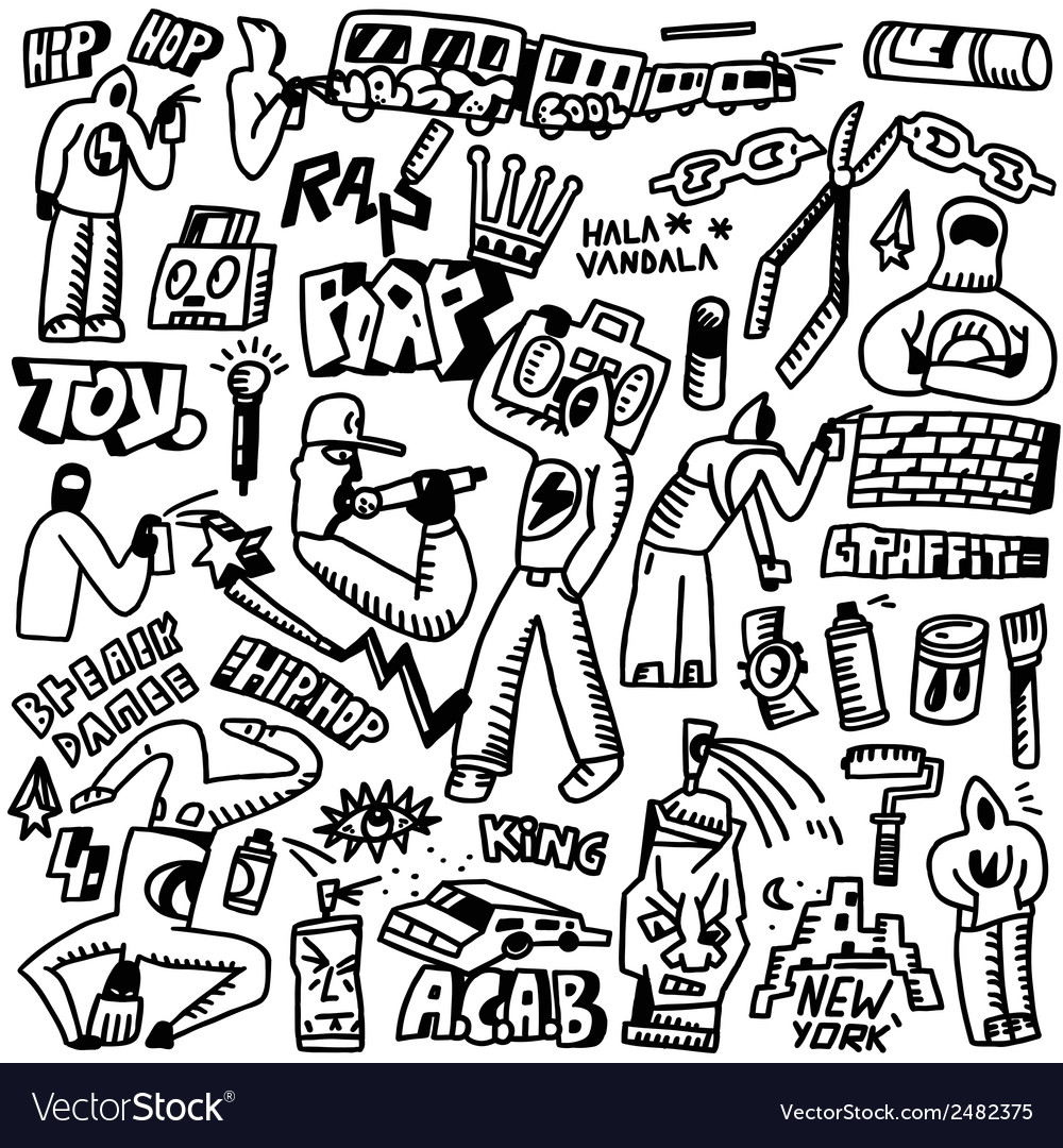Raphip hop graffiti - doodles set vector | Price: 1 Credit (USD $1)