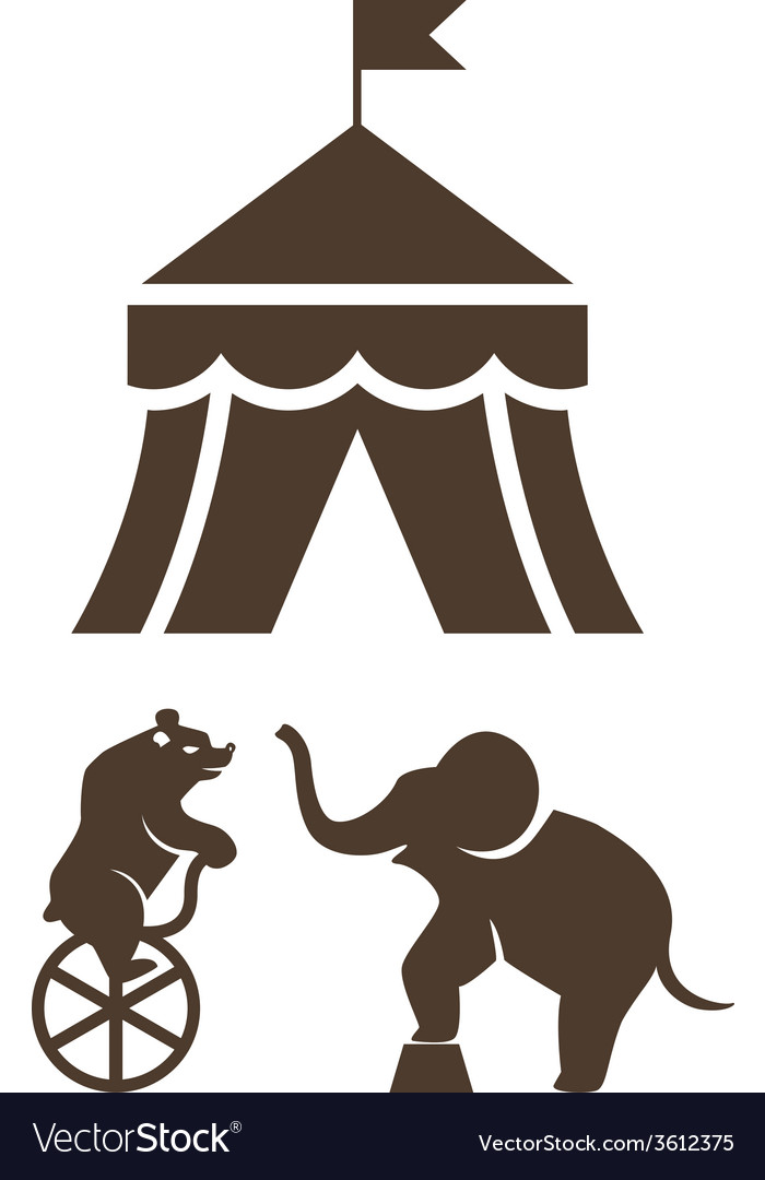 Set of silhouette circus icons vector | Price: 1 Credit (USD $1)