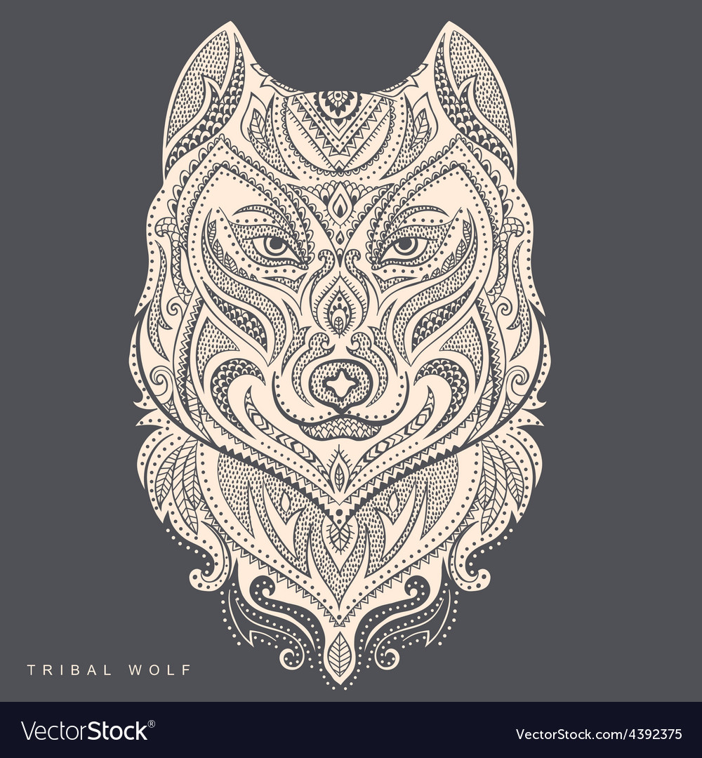 Tribal style wolf totem tattoo vector | Price: 1 Credit (USD $1)