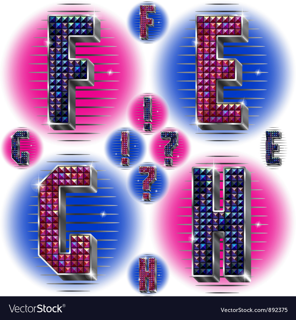 Volume letters efgh with shiny rhinestones vector | Price: 1 Credit (USD $1)
