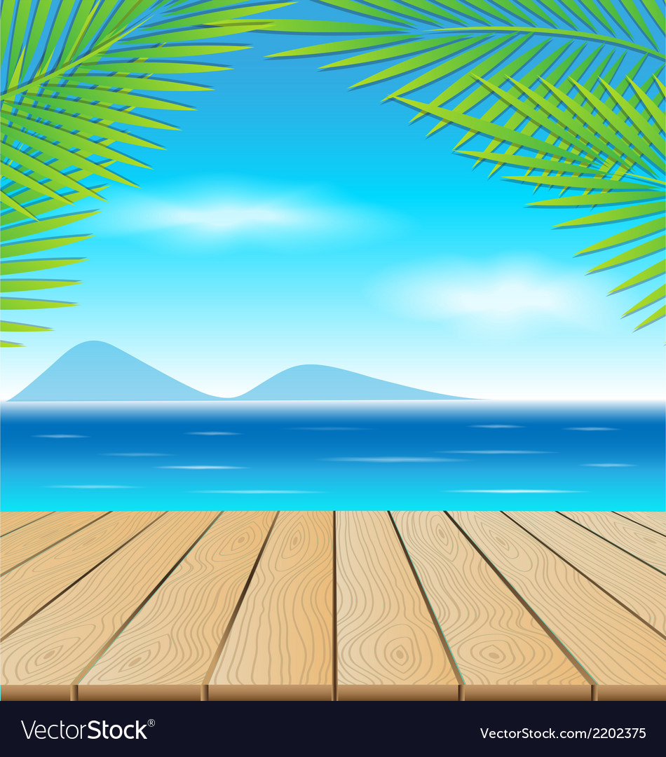 Wooden table in the beach vector | Price: 1 Credit (USD $1)