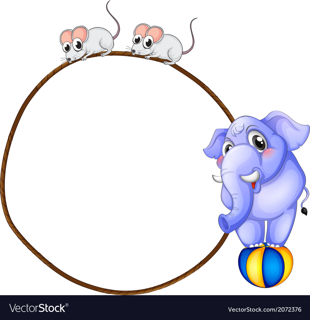 A round template with a blue elephant and playful vector | Price: 1 Credit (USD $1)