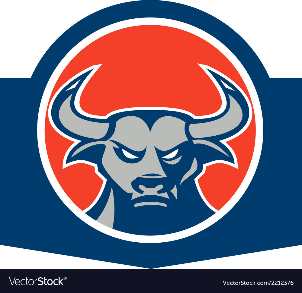 Angry bull head circle retro vector | Price: 1 Credit (USD $1)