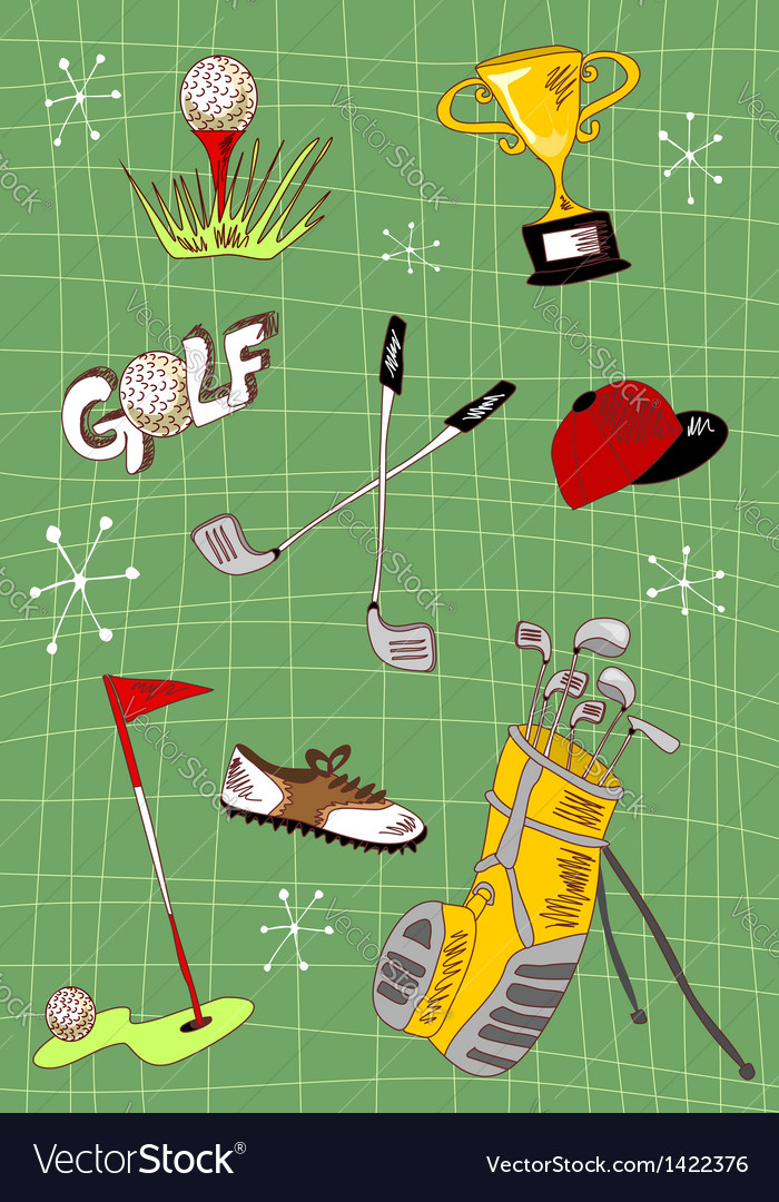 Cartoon golf icons set vector | Price: 1 Credit (USD $1)