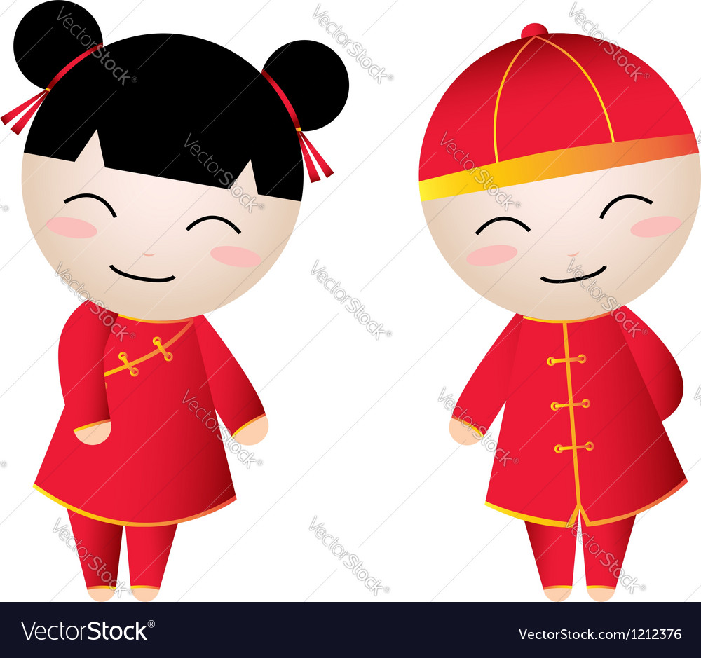 Chinese girl-boy greetings vector | Price: 3 Credit (USD $3)