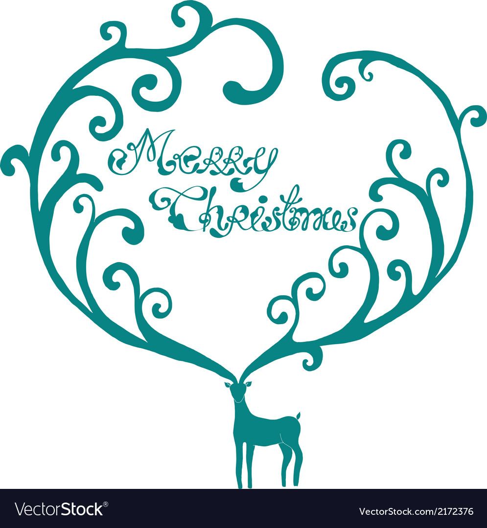 Christmas deer with merry christmas text vector | Price: 1 Credit (USD $1)