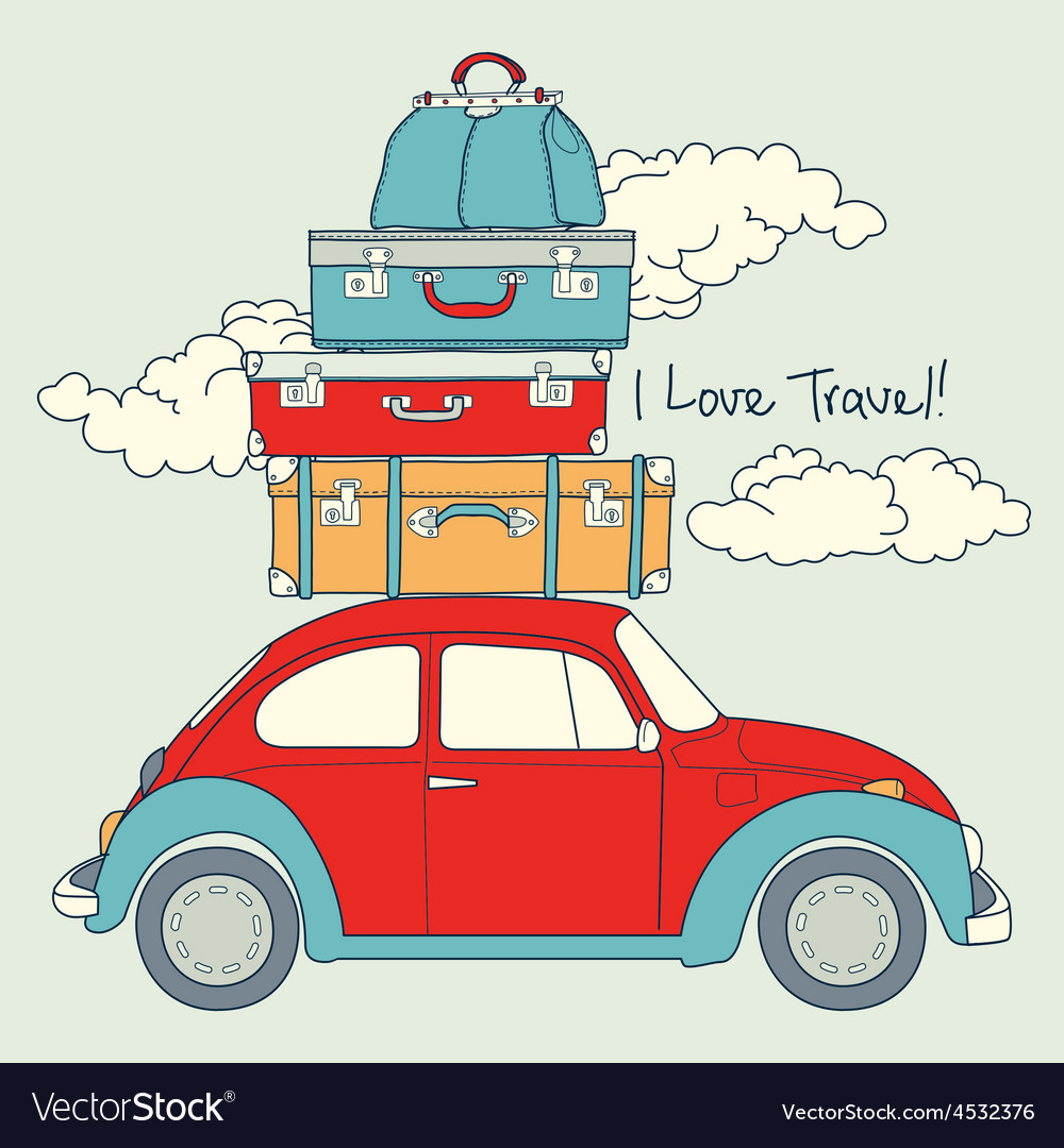 Retro car loaded for a traveling vector | Price: 1 Credit (USD $1)