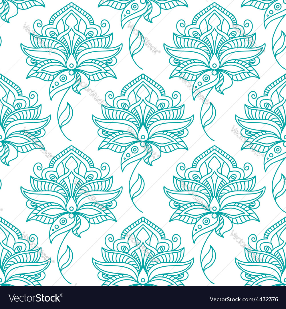 Seamless persian outline blue flowers pattern vector | Price: 1 Credit (USD $1)