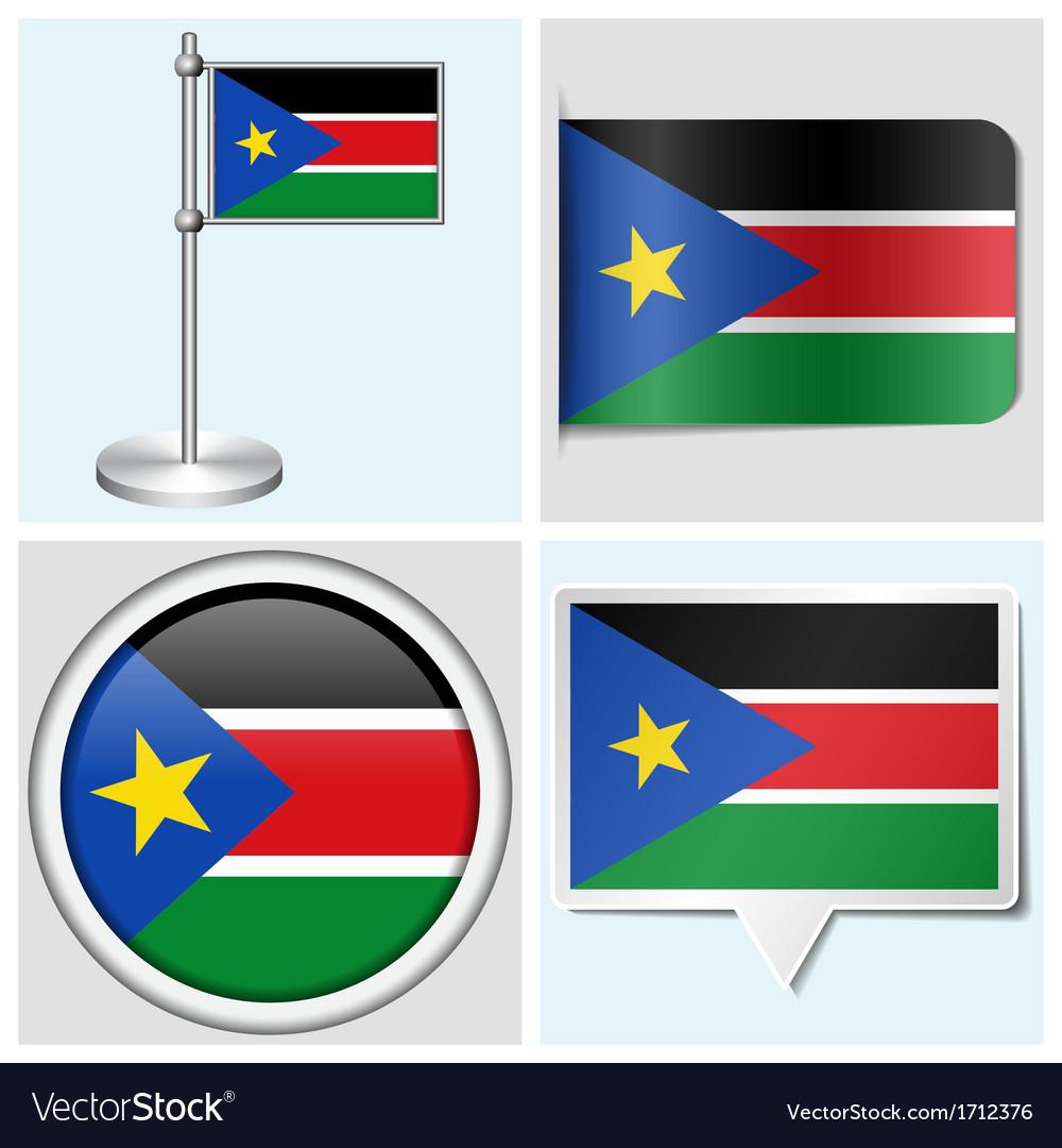 South sudan flag - sticker button label vector | Price: 1 Credit (USD $1)