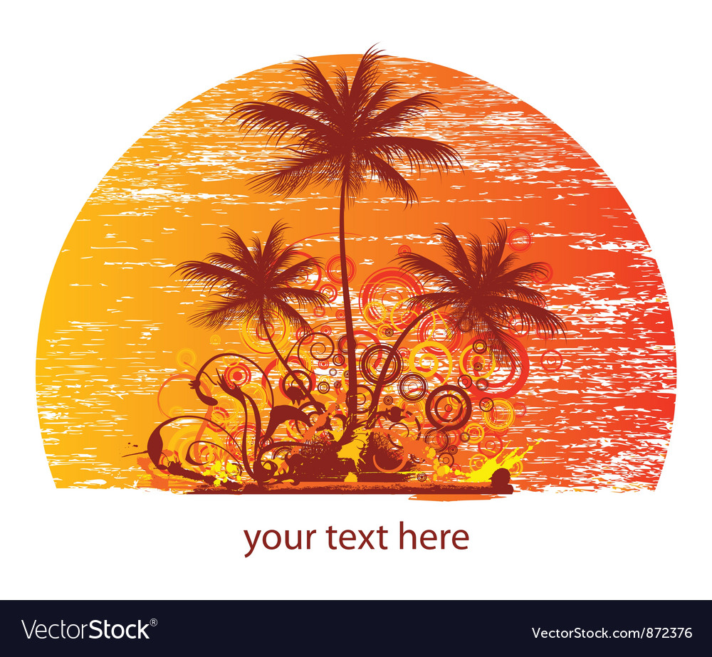 Vintage summer background with palm trees and vector | Price: 1 Credit (USD $1)