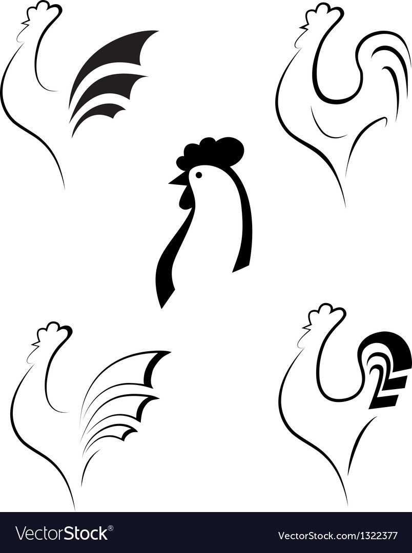 Chicken and cockerel vector | Price: 1 Credit (USD $1)