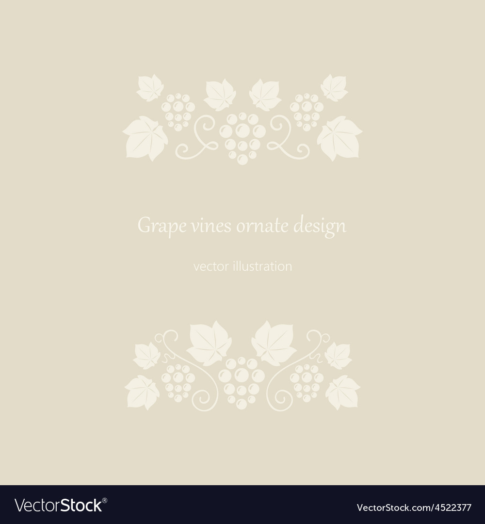 Grape vines beige ornate frame vector | Price: 1 Credit (USD $1)