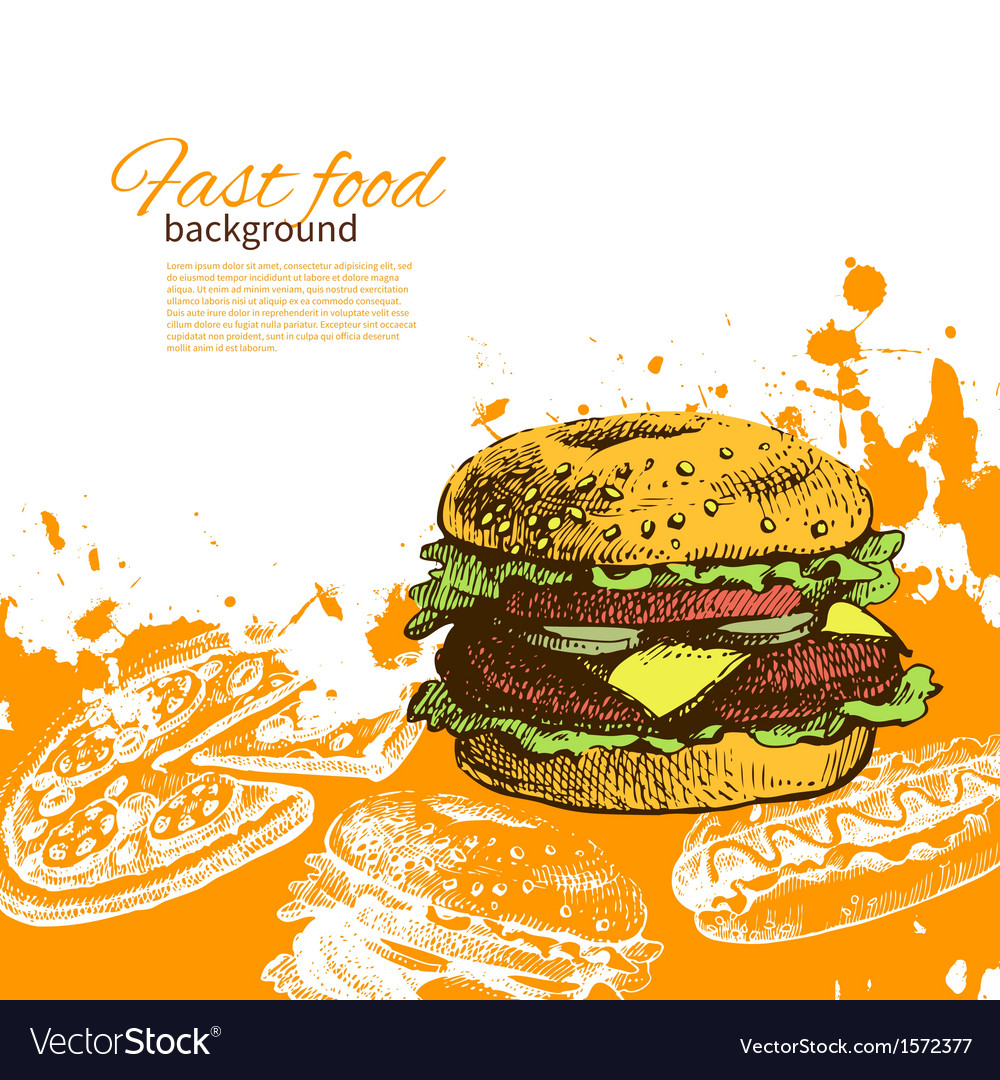 Hand drawn vintage fast food background vector | Price: 1 Credit (USD $1)