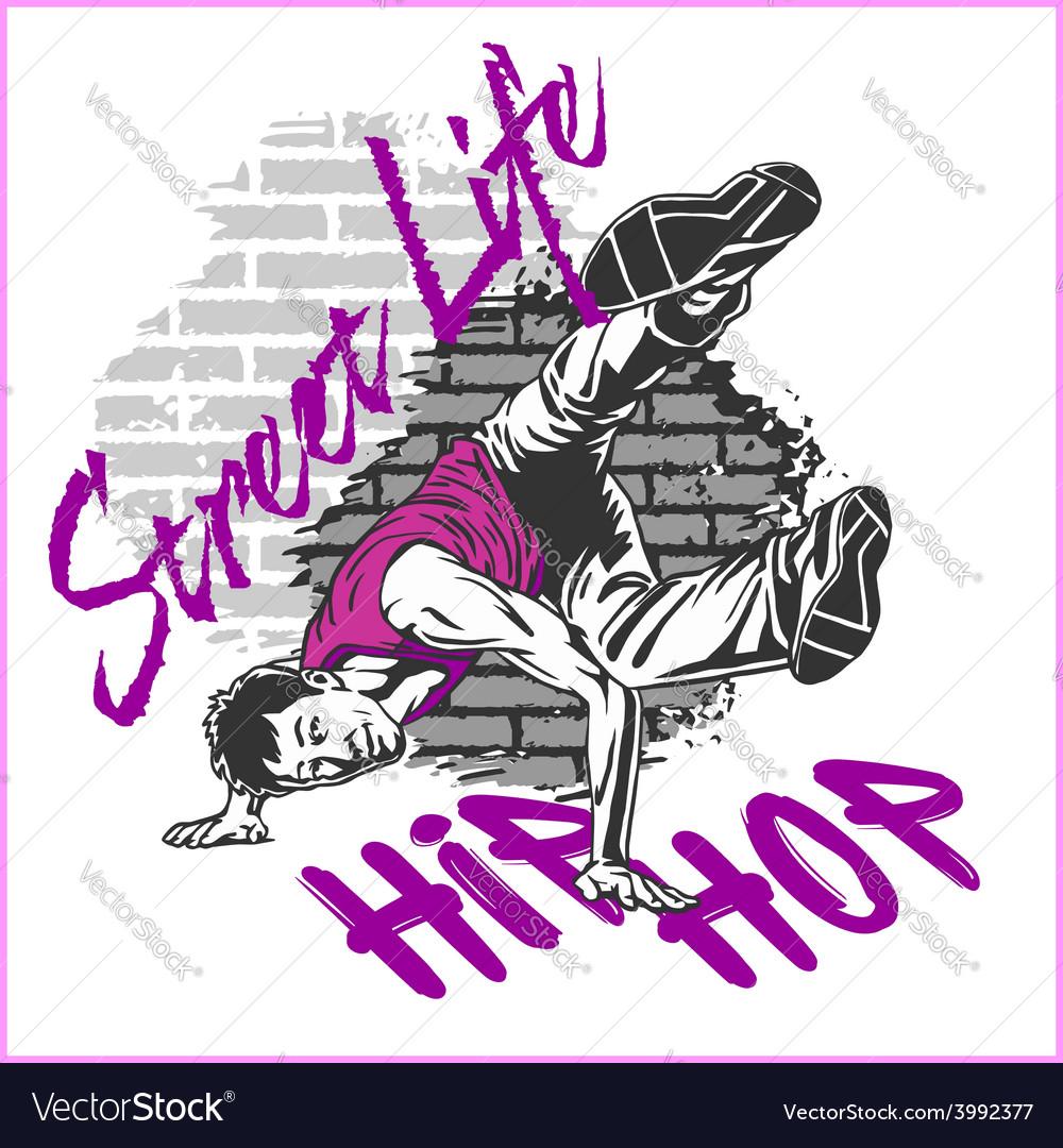 Hip hop dancer on grunge background vector | Price: 3 Credit (USD $3)