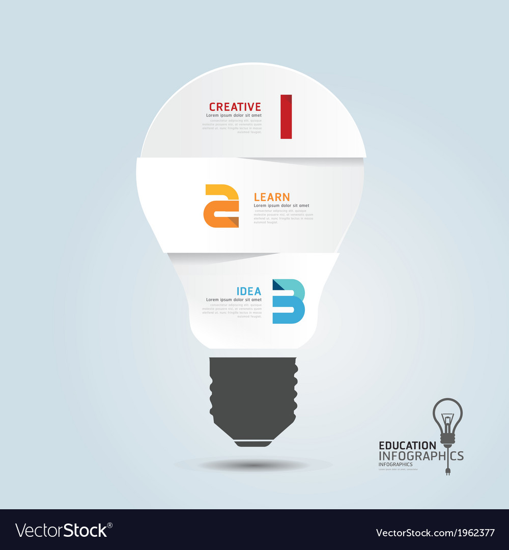 Infographic template with light bulbs paper cut vector | Price: 1 Credit (USD $1)