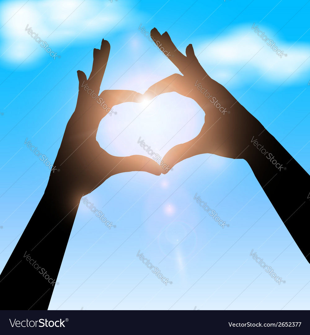 Love shape hand silhouette in sky concept vector | Price: 1 Credit (USD $1)