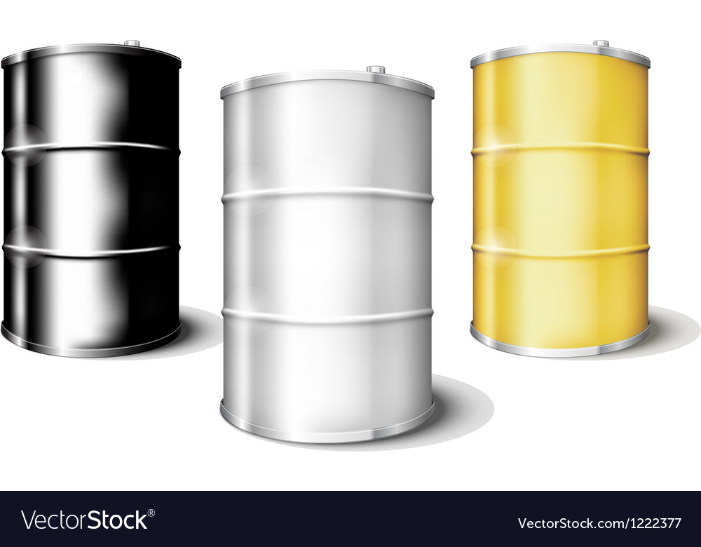 Metal drum barrels set vector | Price: 1 Credit (USD $1)