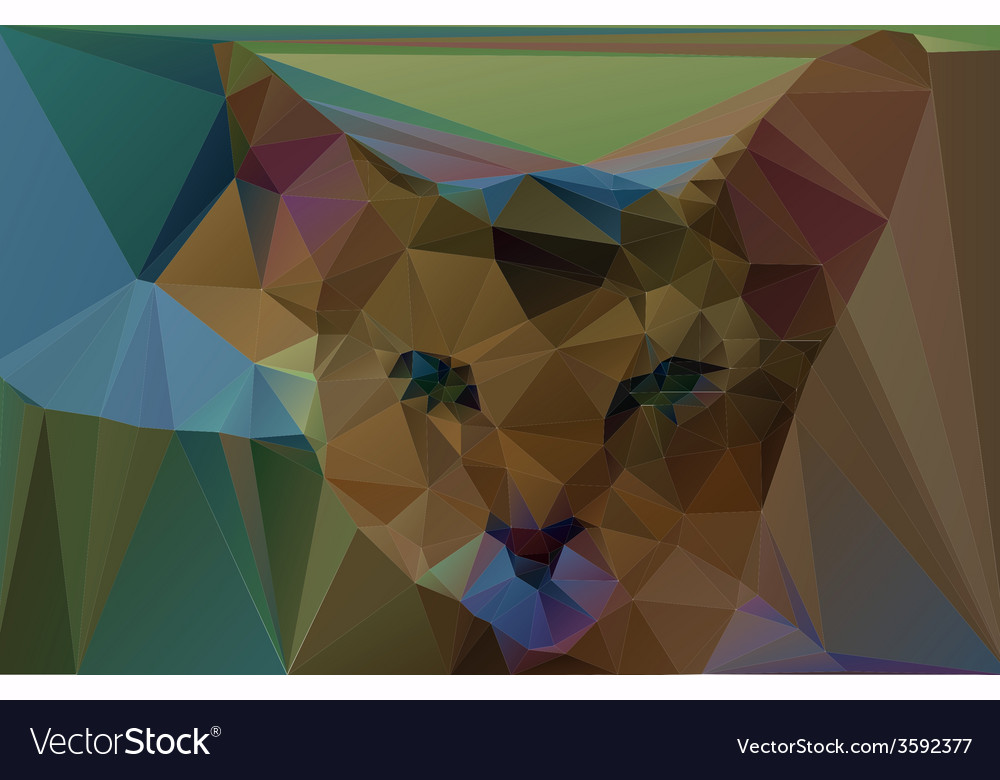 Polygonal red cat vector | Price: 1 Credit (USD $1)