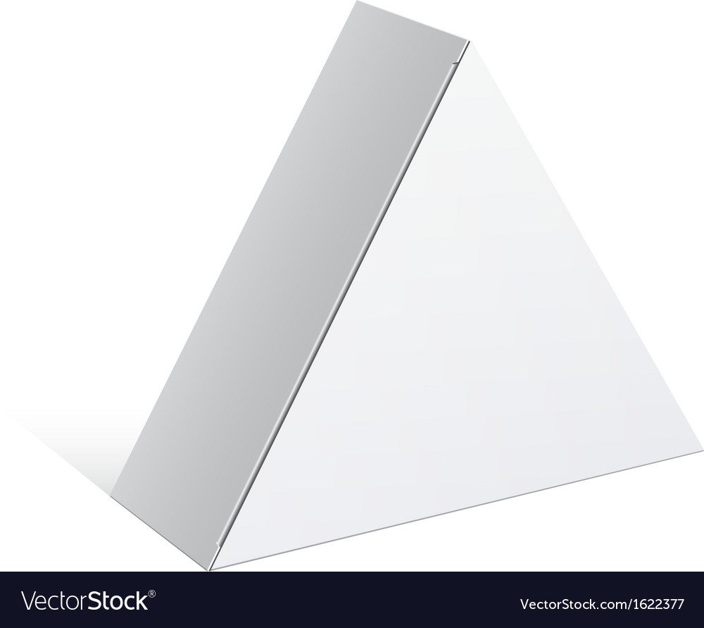 Realistic white package triangular shape box for vector | Price: 1 Credit (USD $1)