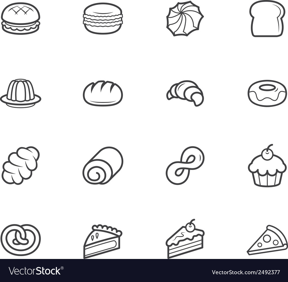 Set of bakery black icon set on white background vector | Price: 1 Credit (USD $1)