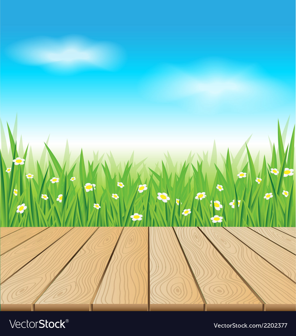 Wooden table on spring meadow vector | Price: 1 Credit (USD $1)