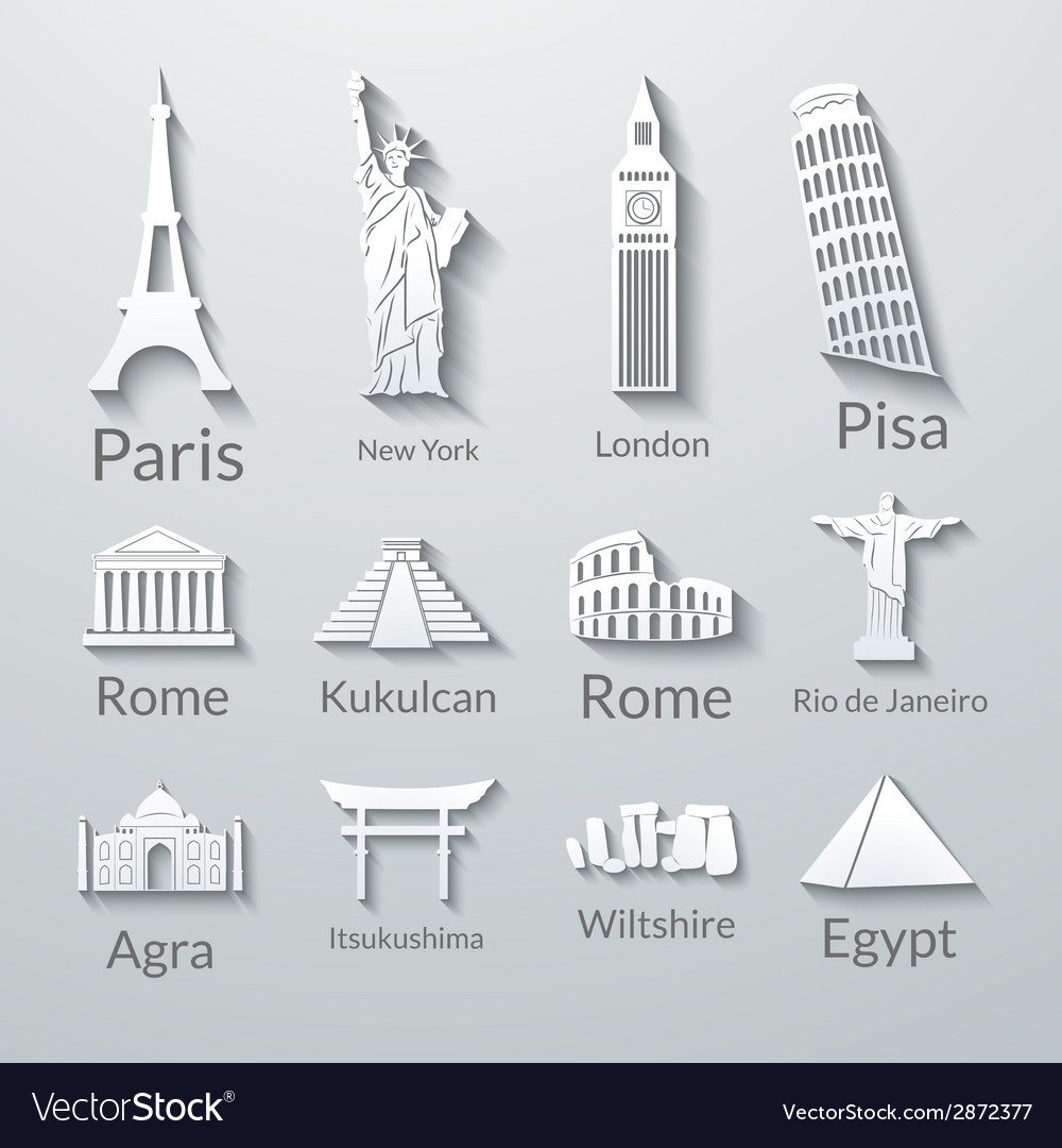 World landmarks paper icons set vector | Price: 1 Credit (USD $1)