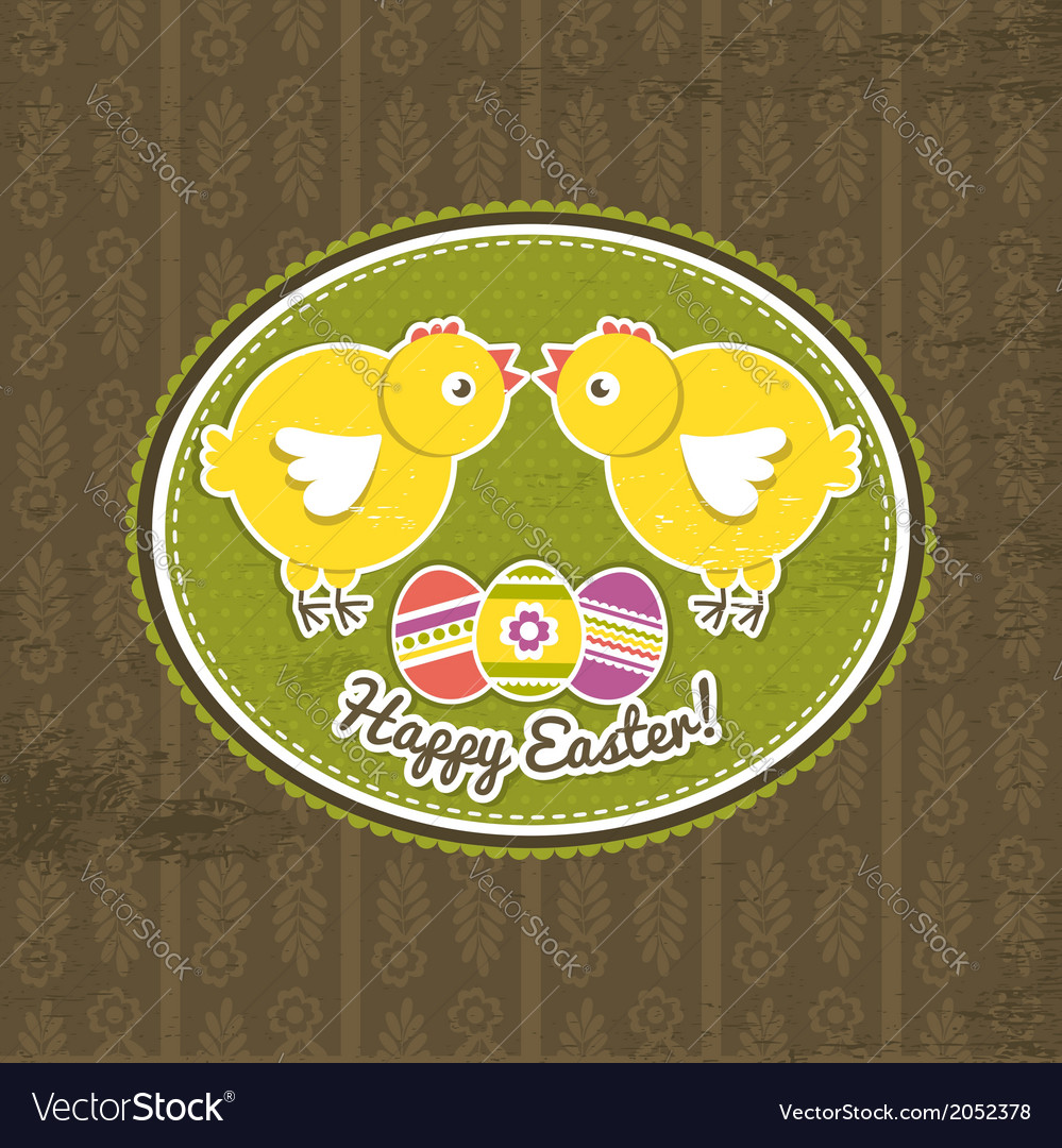 Background with easter eggs and two chick vector | Price: 1 Credit (USD $1)