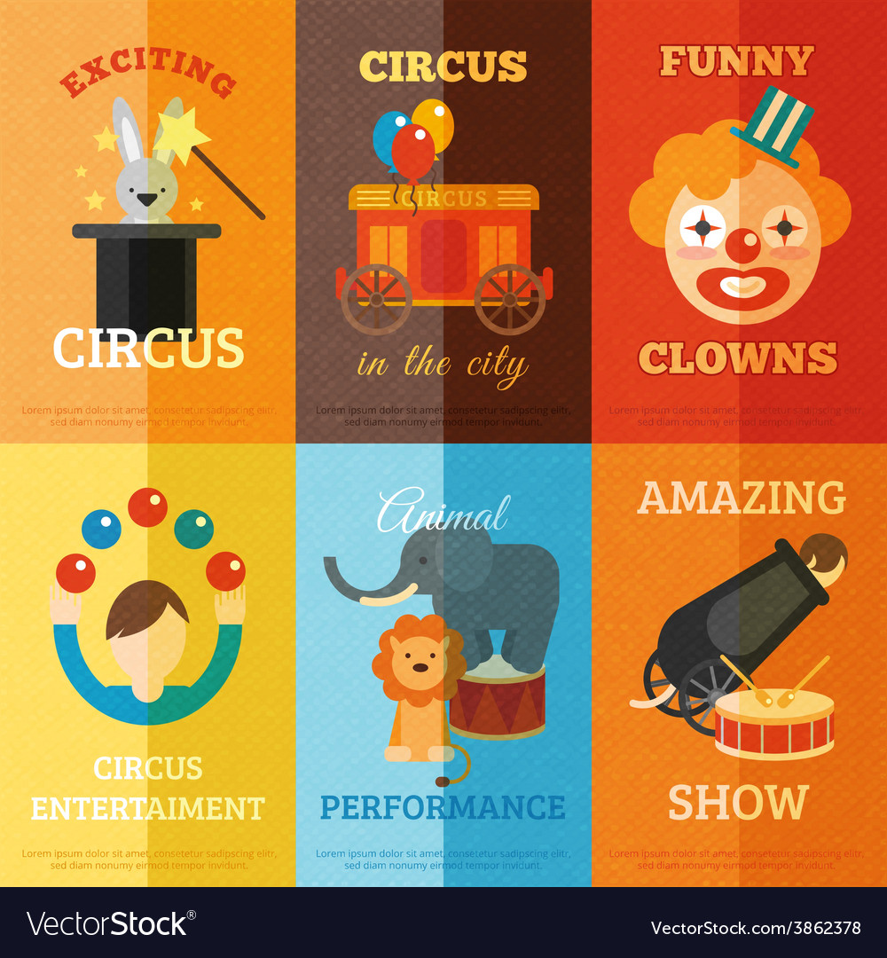 Circus poster set vector | Price: 1 Credit (USD $1)