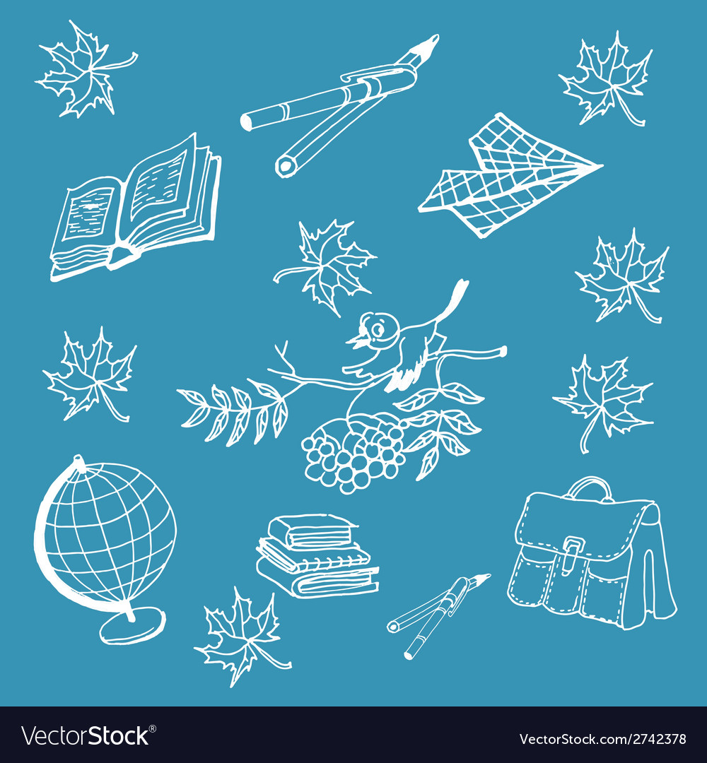 Doodle back to school on blue background vector | Price: 1 Credit (USD $1)