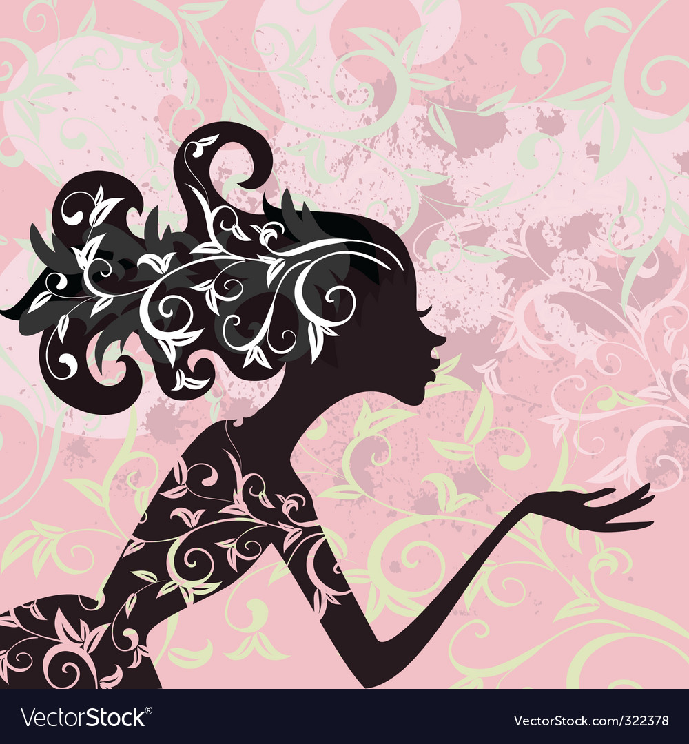 Glamour girl hair ornament vector | Price: 1 Credit (USD $1)