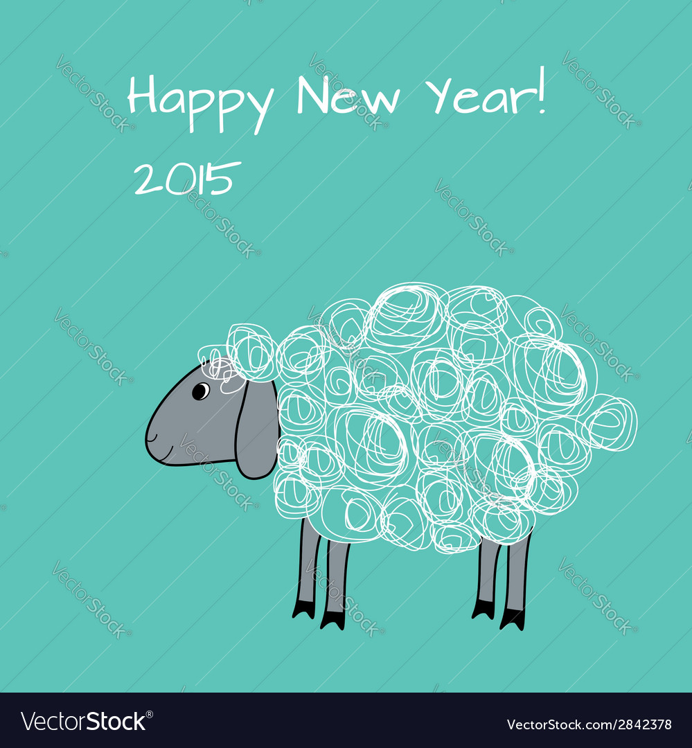 Greeting card with sheep vector | Price: 1 Credit (USD $1)