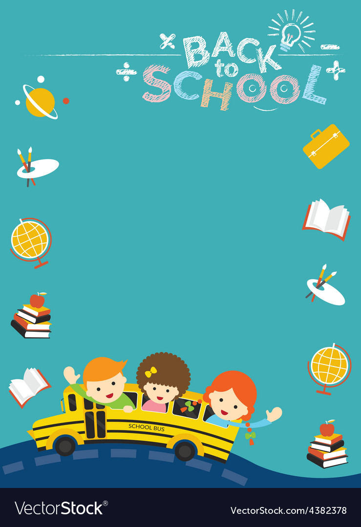School bus with student and education icons frame vector | Price: 1 Credit (USD $1)