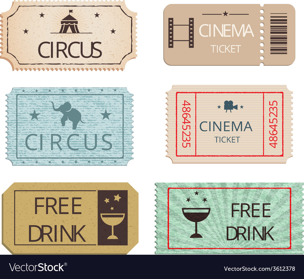 Vintage cinema circus and party tickets set vector | Price: 1 Credit (USD $1)