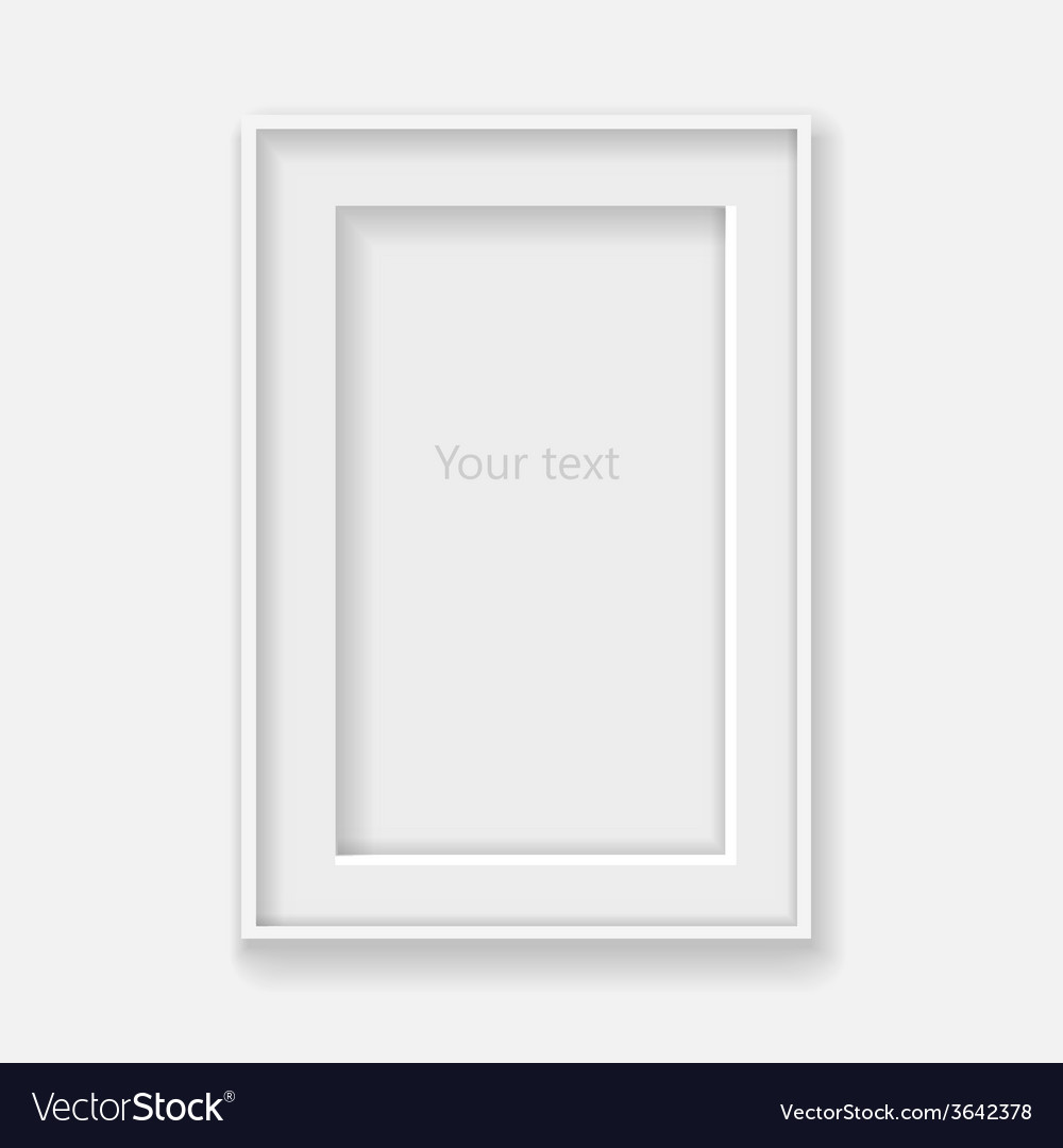 White vertical frame on gray wall with shadows vector | Price: 1 Credit (USD $1)