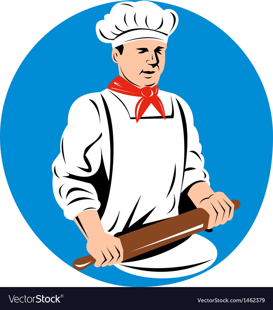 Chef cook baker holding kneading rolling pin vector | Price: 1 Credit (USD $1)