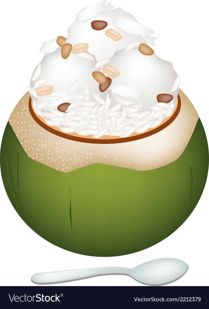 Coconut ice cream with nuts and sticky rice vector | Price: 1 Credit (USD $1)