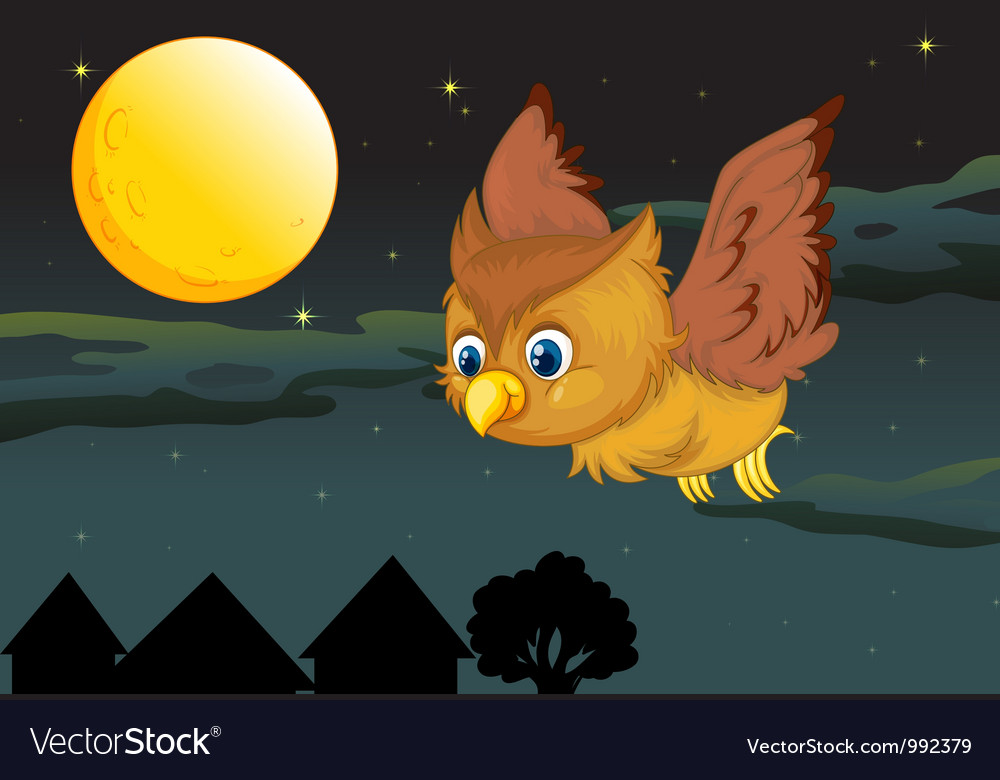 Cute owl flying in the evening vector | Price: 1 Credit (USD $1)