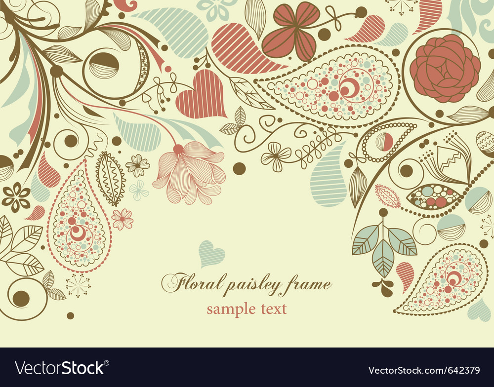Floral frame paisley motif vector | Price: 1 Credit (USD $1)