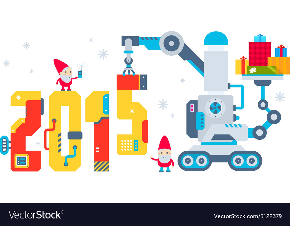 Horizontal of the gnome operates the machine vector | Price: 1 Credit (USD $1)