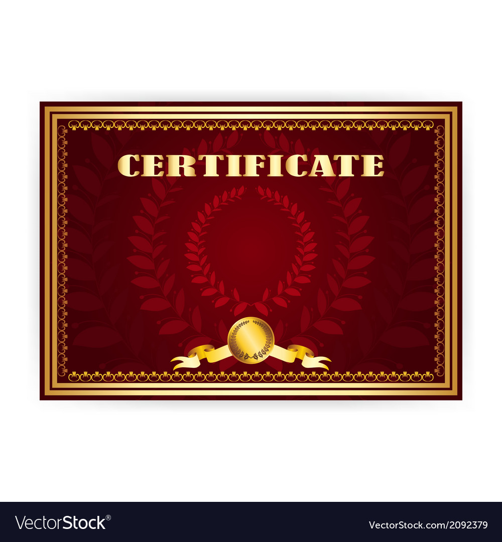 Horizontal old certificate with a laurel wreath vector | Price: 1 Credit (USD $1)