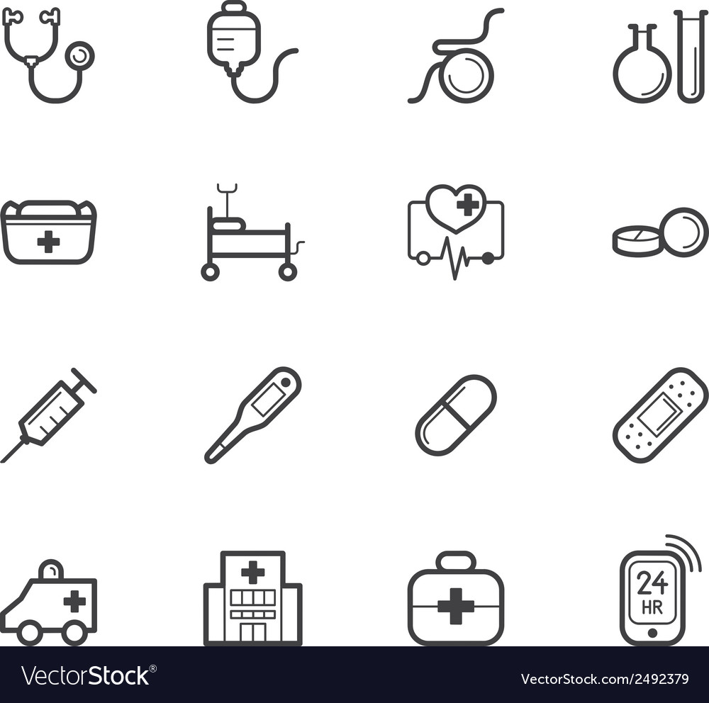 Hospital element black icon set on white bg vector | Price: 1 Credit (USD $1)
