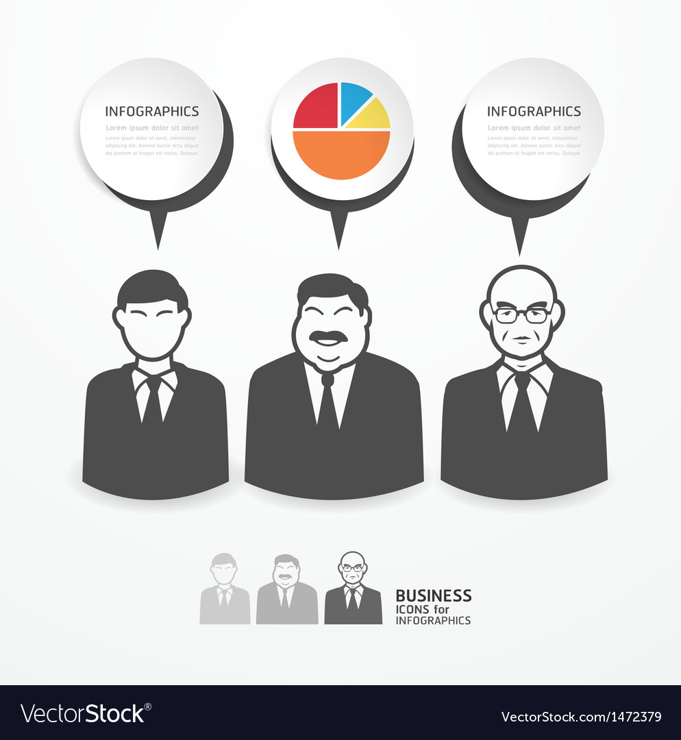 Icons business people with dialog speech bubbles vector | Price: 1 Credit (USD $1)